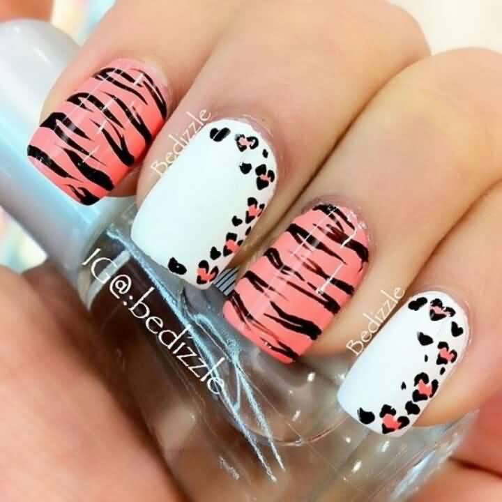 Peach Zebra Print Nail Art