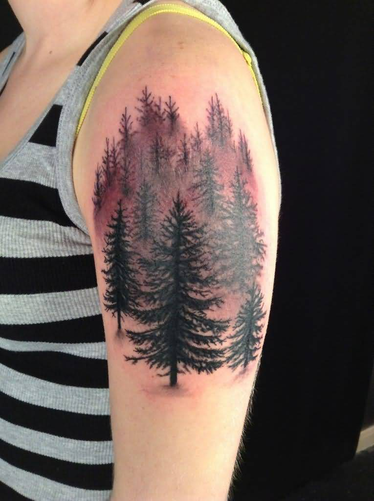 2d149261de96f Pine Tree Forest Tattoo On Left Shoulder