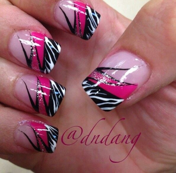 Zebra Nail Art With Hot Pink Tips 68