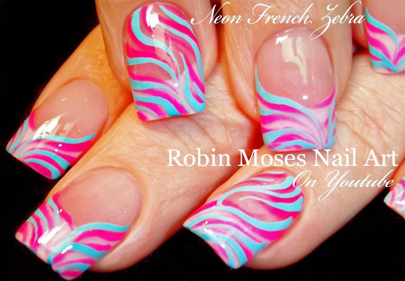 Pink And Blue Glossy Zebra Print Nail Art