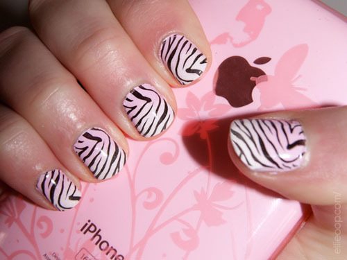 Pink And White Ombre Zebra Print Nail Art