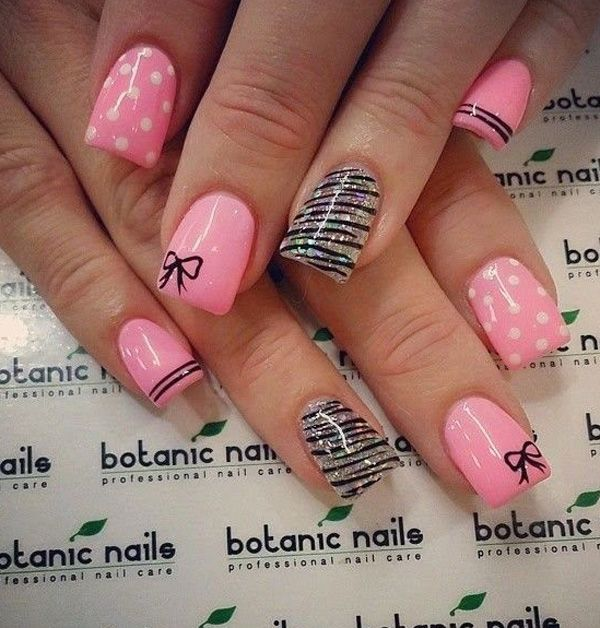 45 Polka Dots And Bow Nail Art Design Ideas For Girls