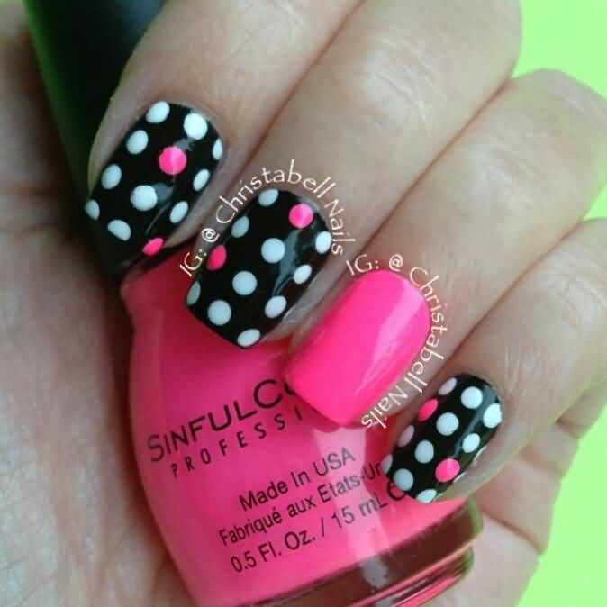 Pink Black And White Polka Dot Nail Art