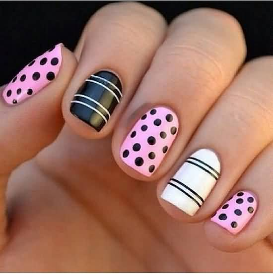 Pink Black And White Polka Dot Nail Design