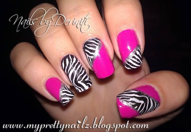 Pink Diagonal Nails With Black And White Zebra Print Nail Art
