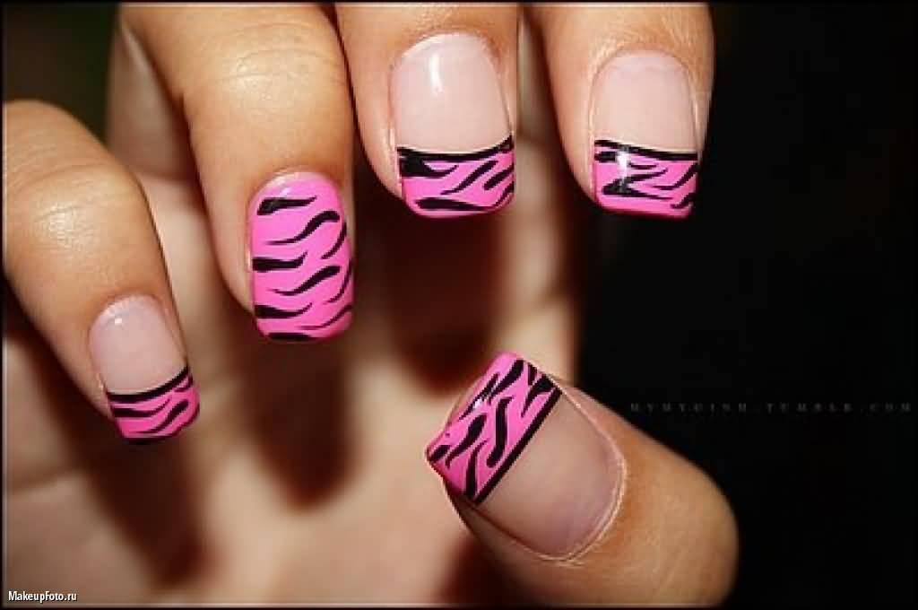 Pink French Tip Zebra Print Nail Art