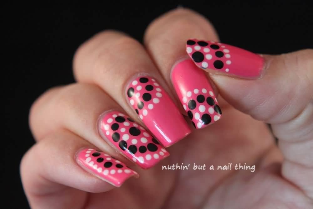 Pink Nails With Black And White Polka Dot Nail Art