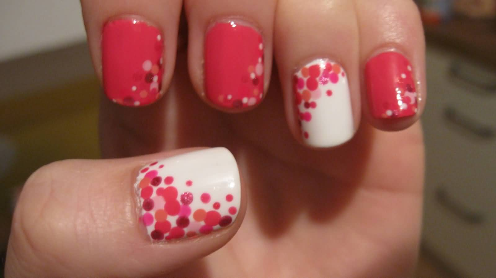 Pink Polka Dots Nail Art Design