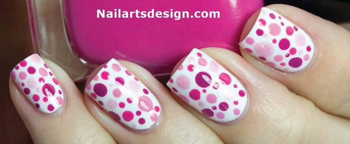 Pink Polka Dots Nail Design