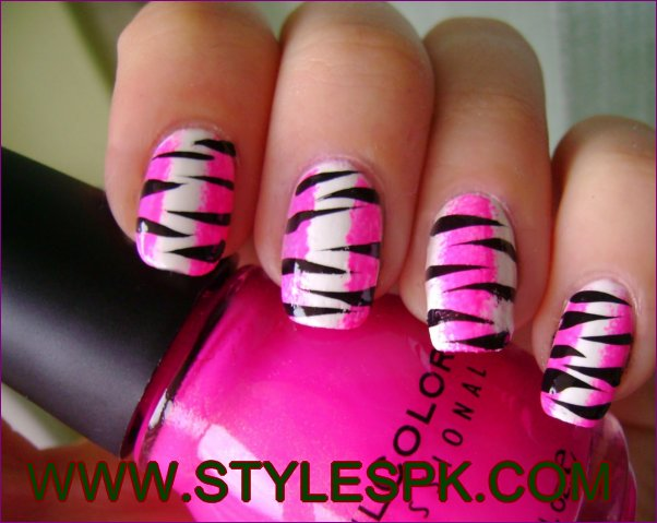 Pink White And Black Zebra Print Nail Art Design