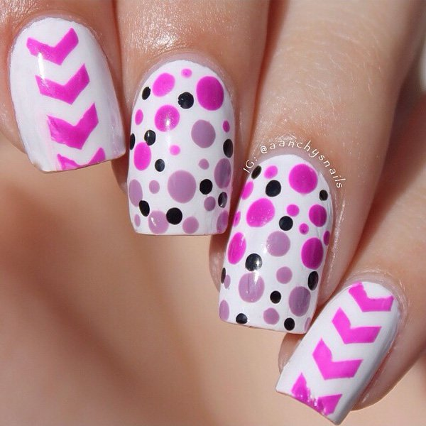 Polka Dots Design Chevron Design Nail Art