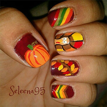 Pumpkin And Turkey Thanksgiving Nail Art