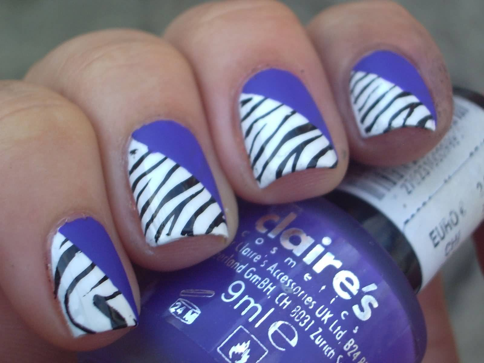 Purple And Zebra Print Diagonal Design Nail Art