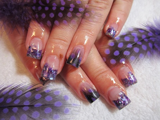 55 most stylish feather nail art designs purple french tip feather nail art prinsesfo Image collections