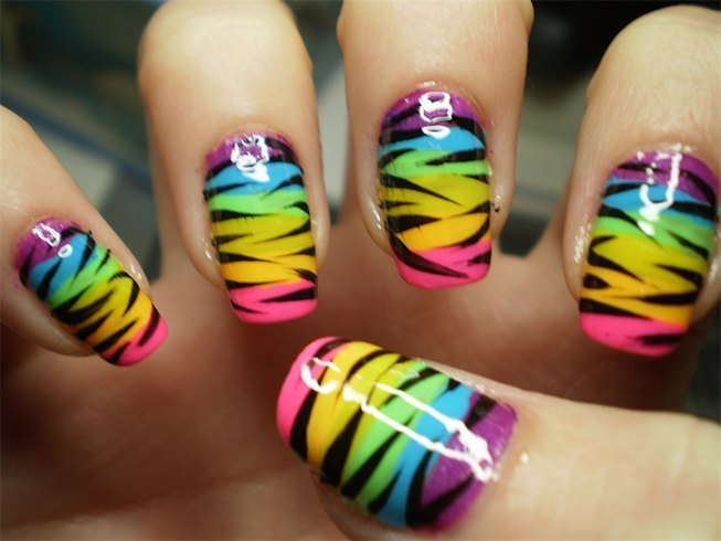 Rainbow Zebra Print Nail Art Design Idea