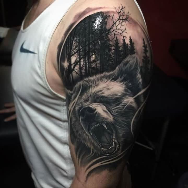 a97c57f6204ed Realistic Wild Wolf And Forest Tattoo On Man Left Half Sleeve