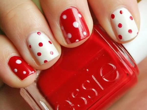 Red And Pink Polka Dots Nail Art Design