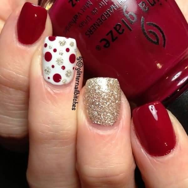 Red And Silver Glitter Polka Dots Nail Art