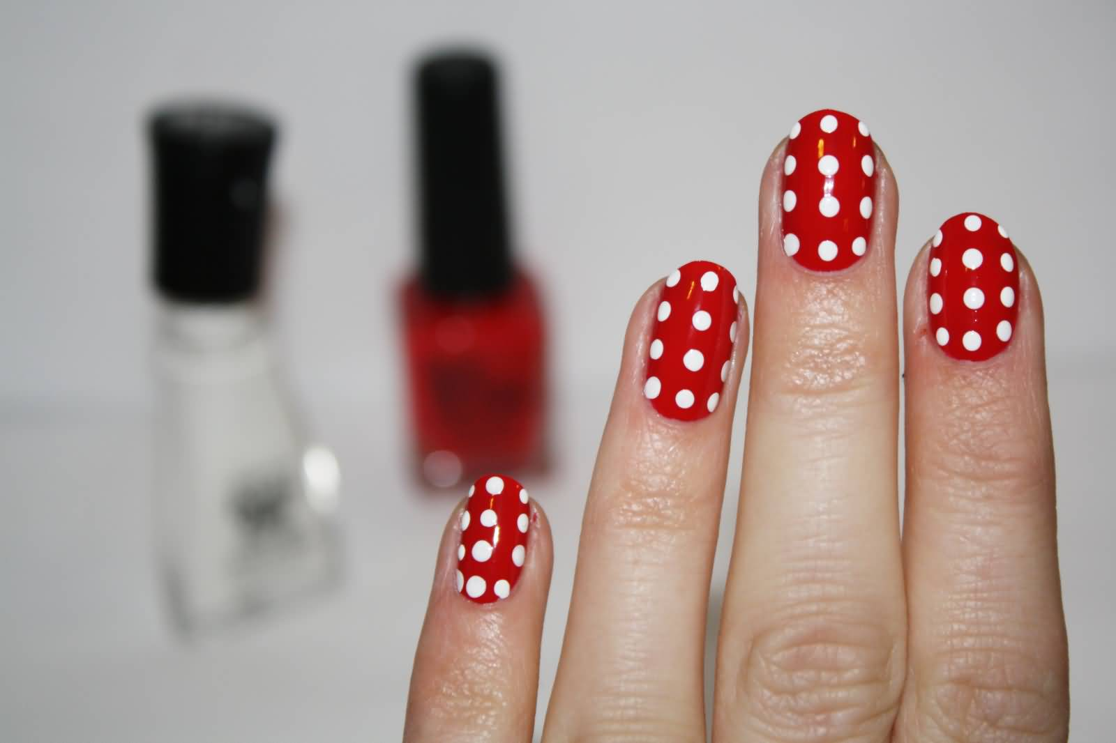 Red And White Beautiful Polka Dots Nail Design