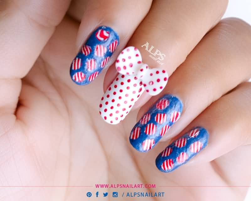 Red And White Polka Dots 3d Bow Nail Art