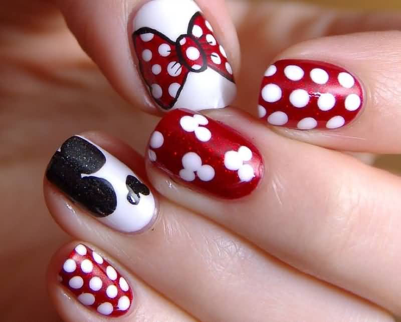 45 polka dots and bow nail art design ideas for girls red and white polka dots with minnie mouse bow nail art prinsesfo Images