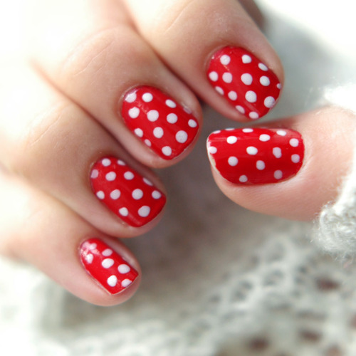 Red Nails With White Polka Dots Nail Art