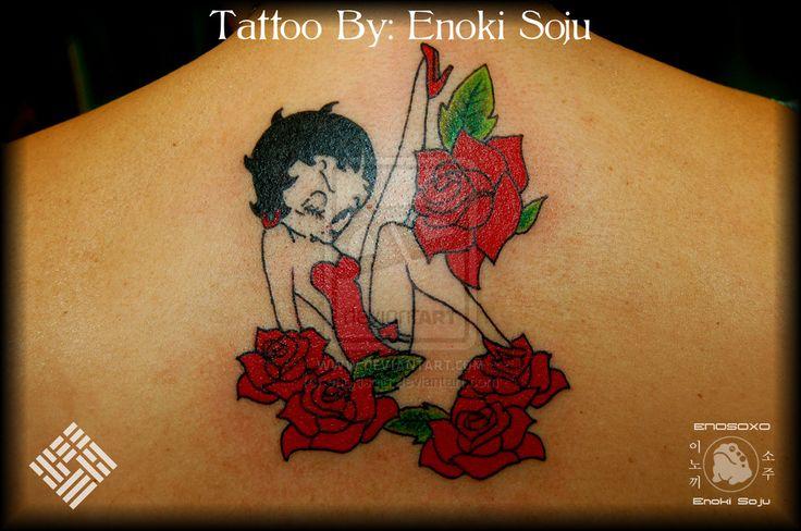 Red Roses And Betty Boop Tattoo N Upper Back By Enoki Soju
