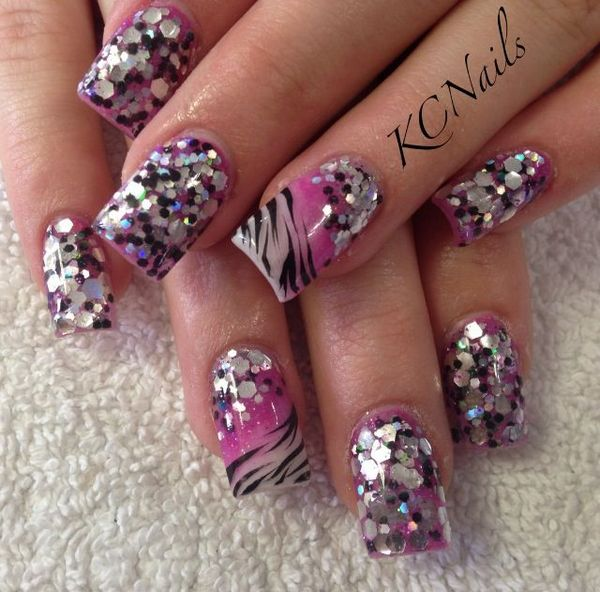 55 most beautiful zebra print nail art design ideas sparkle and zebra print nail art prinsesfo Images