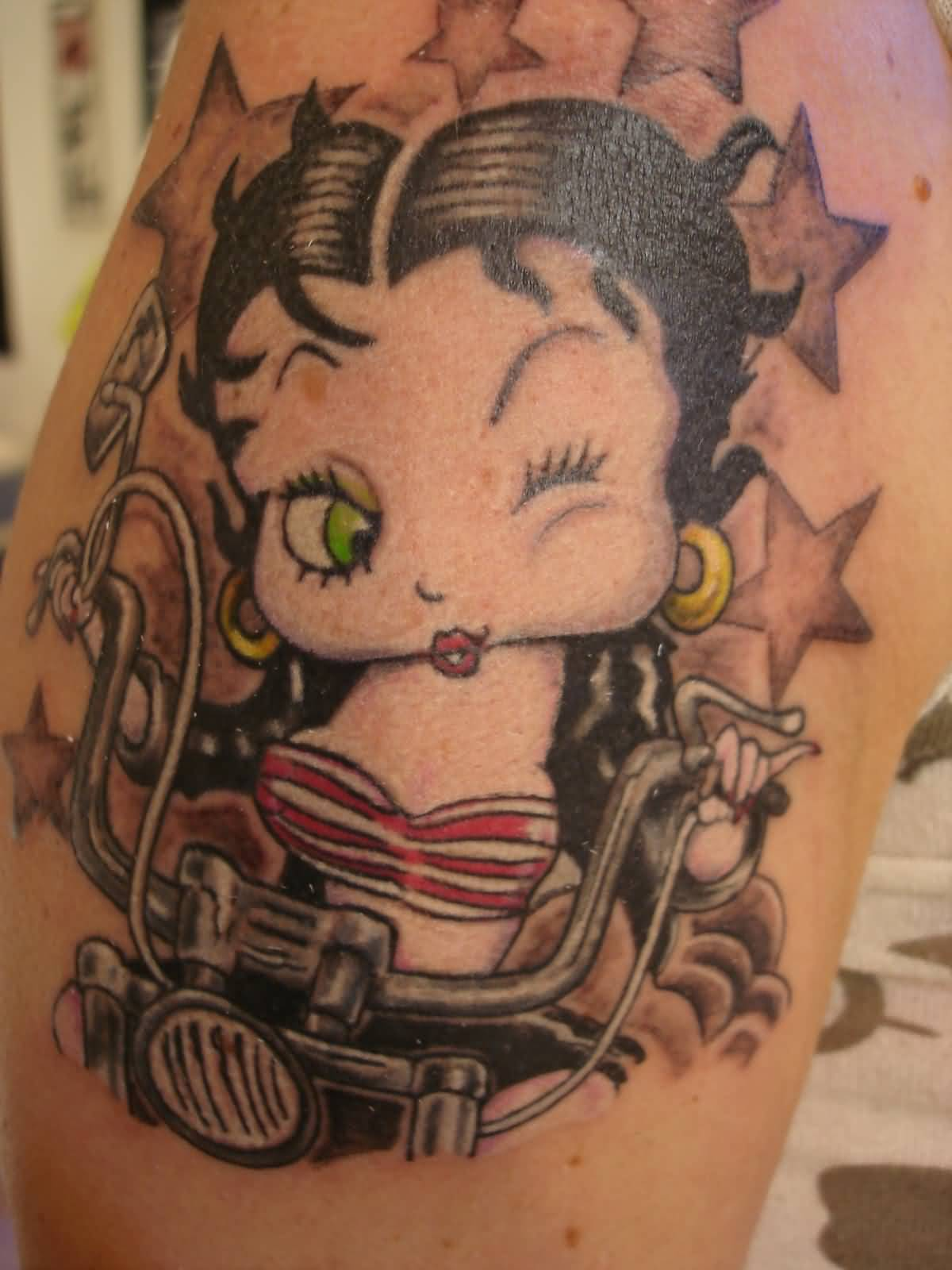 Stars And Biker Betty Boop Tattoo