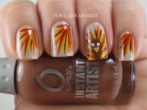 Stripes Design With Turkey Thanksgiving Nail Art