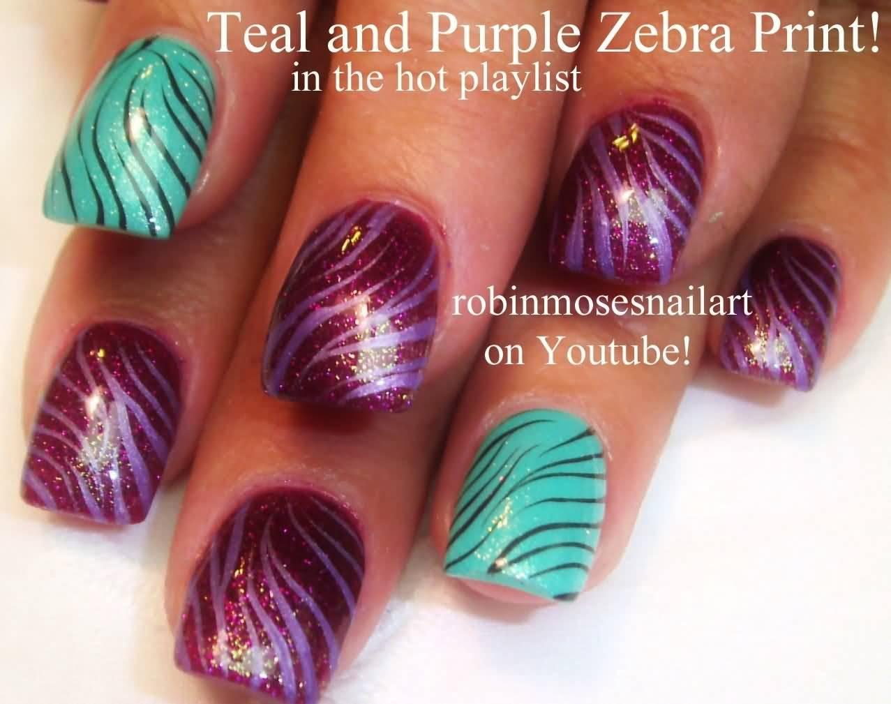 Teal And Purple Zebra Print Nail Design