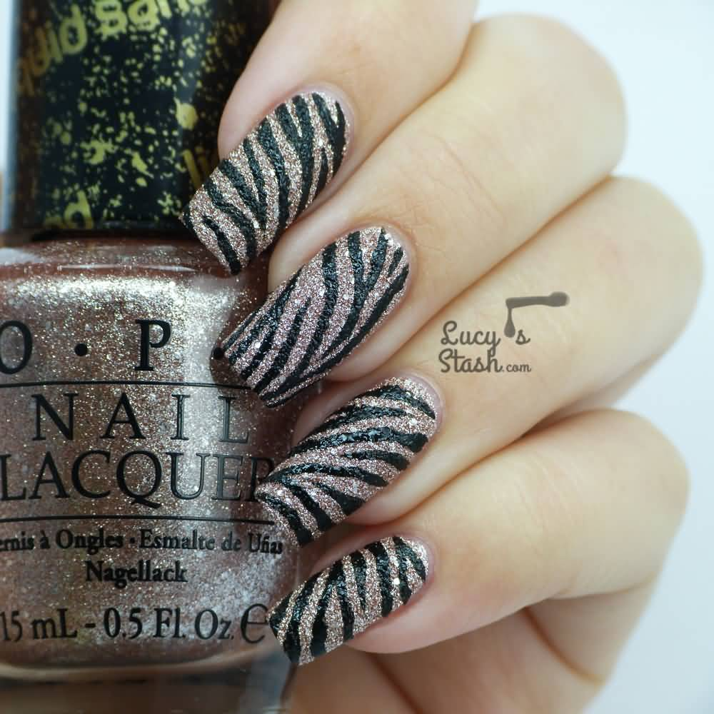 Textured Zebra Print Nail Art