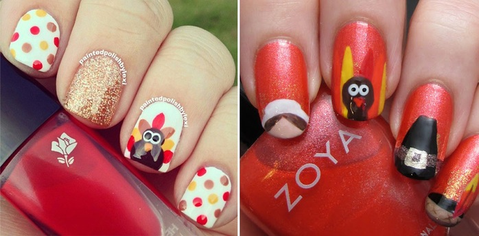 Two Beautiful Thanksgiving Nail Art Design Ideas - 25+ Latest Thanksgiving Nail Art Designs