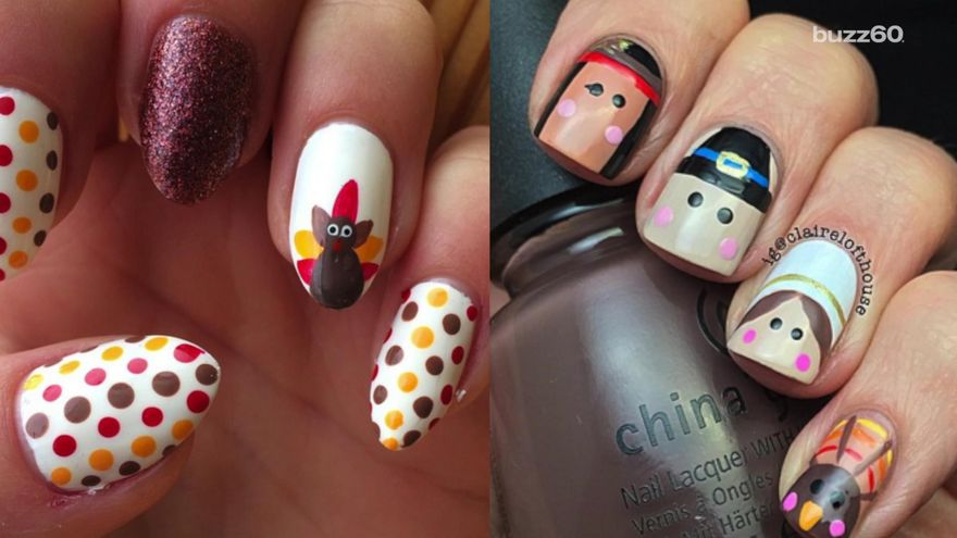 Two Beautiful Thanksgiving Nail Art Designs - 50 Most Beautiful Thanksgiving Nail Art Design Ideas