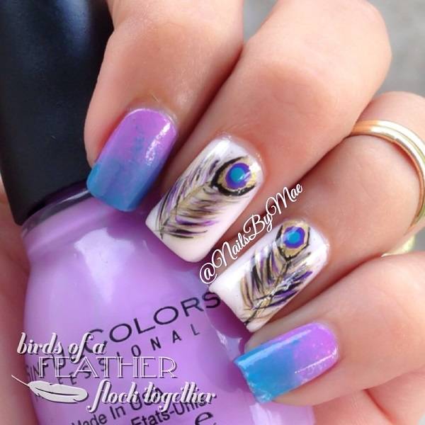 50 Latest Feather Nail Art Design Ideas