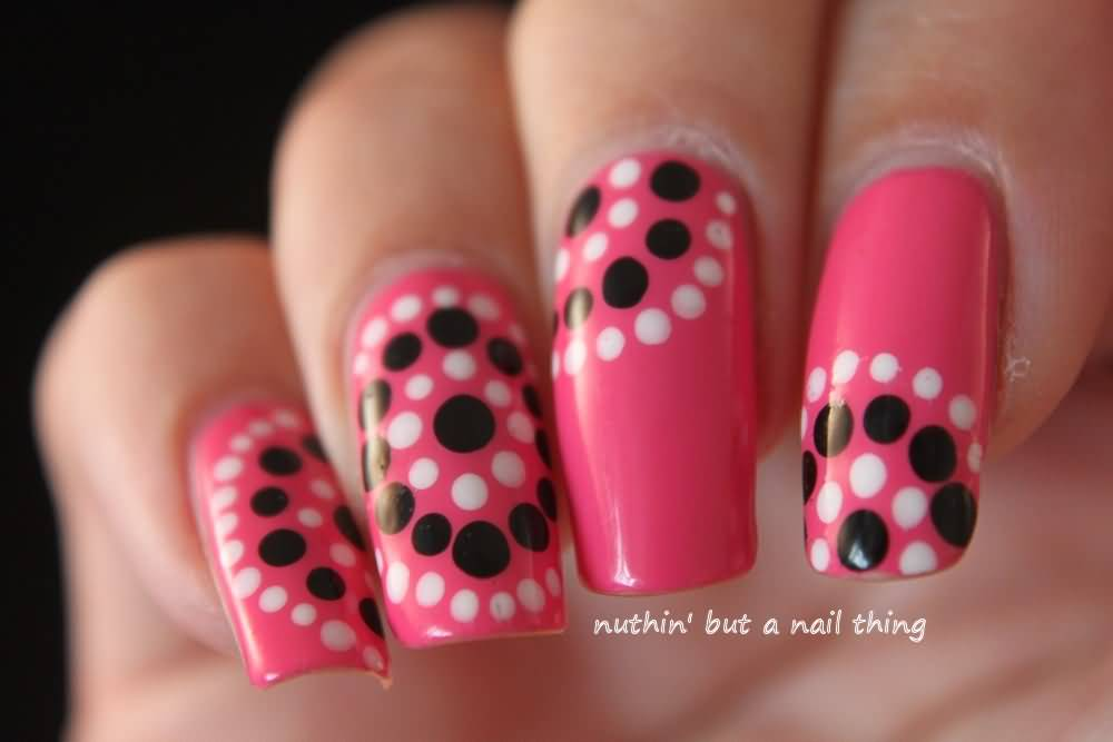 White And Black Polka Dots Nail Art On Pink Nails