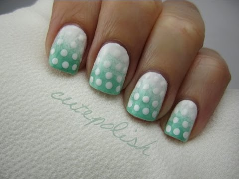 White And Green Ombre Nails With Polka Dots Design