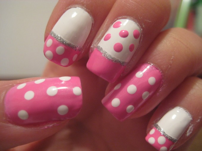 White And Pink Acrylic Polka Dots Nail Art