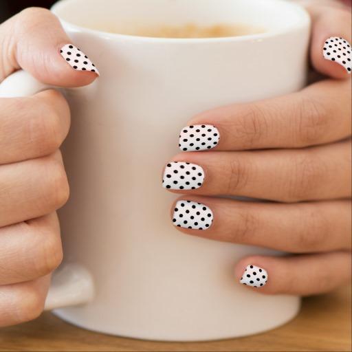 White Base Nails With Black Polka Dot Nail Art