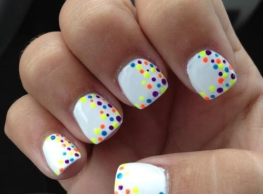 White Base Nails With Neon Polka Dots Nail Art