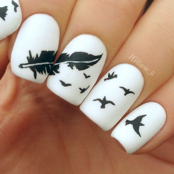 White Matte Nails With Black Feather And Flying Birds Nail Design - 50 Latest Feather Nail Art Design Ideas