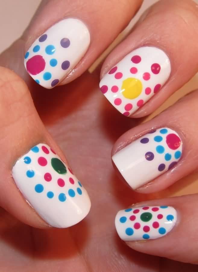 White Nails With Colorful Polka Dots Nail Art