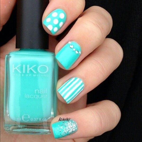 White polka dots and stripes design nail art prinsesfo Gallery