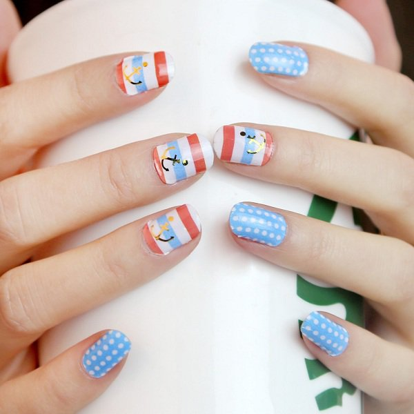 55 best polka dots nail art design ideas for trendy girls white polka dots with nautical nail art prinsesfo Choice Image