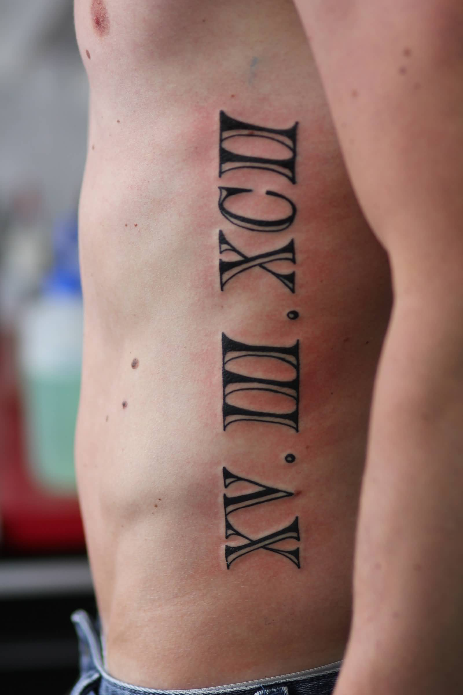 20+ Roman Numerals Side Rib Tattoos