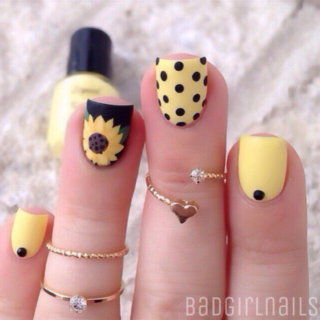 Yellow And Black Sunflower And Polka Dots Nail Art