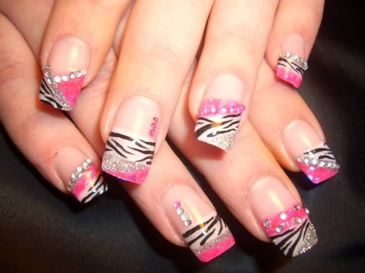 Zebra Print And Rhinestones Design Nail Art