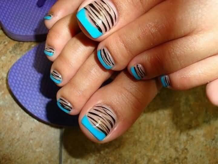 20 most beautiful zebra print nail art designs for toe for How to design toenails at home