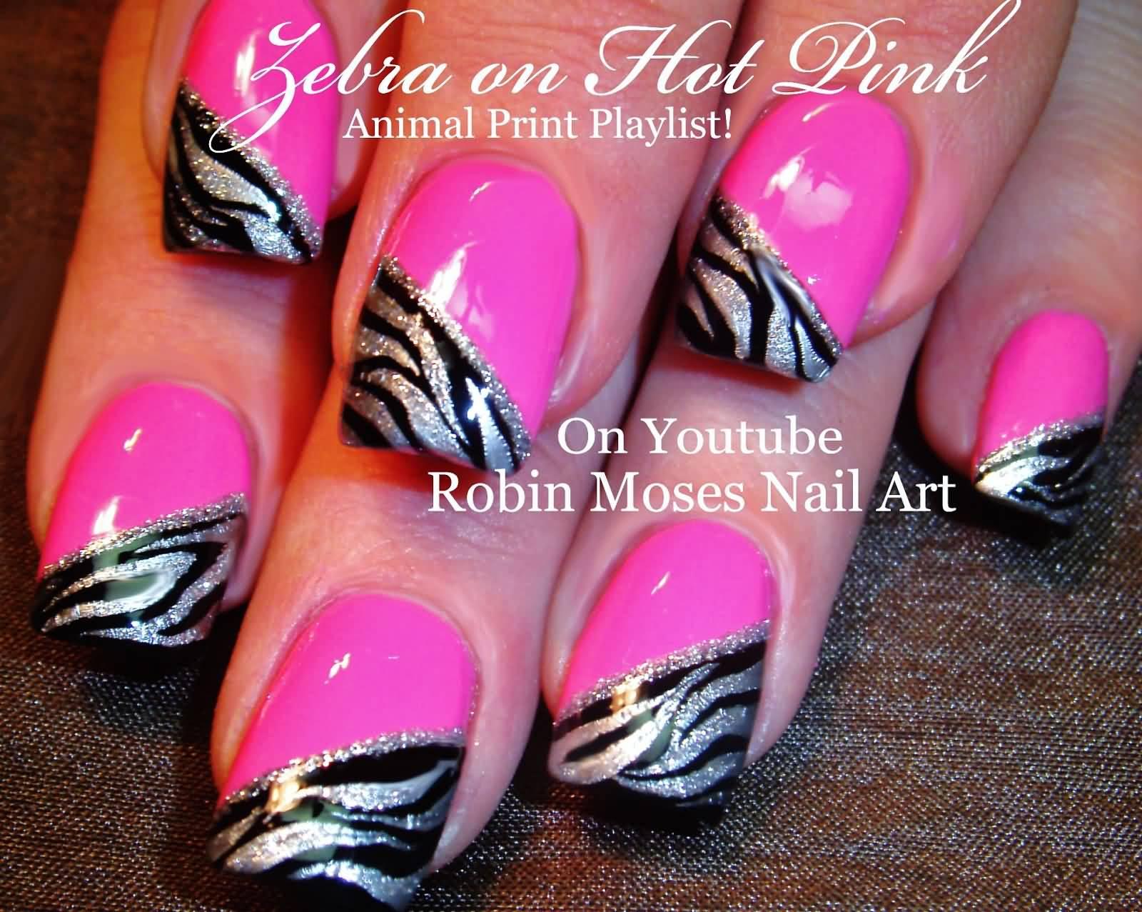 Zebra Print On Hot Pink Nails