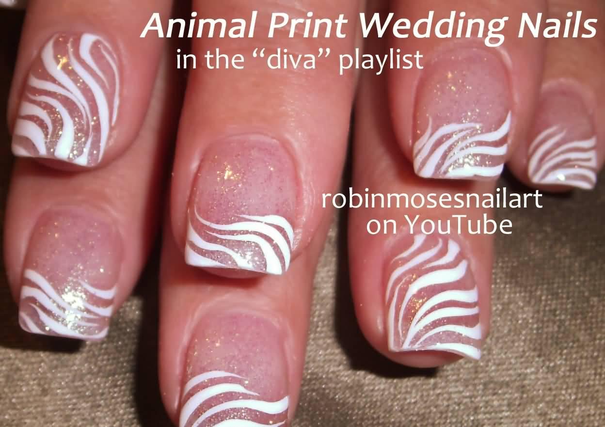Zebra Print Wedding Nails Art